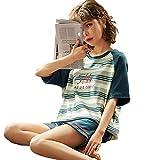 GL SUIT Las Mujeres del Verano Pijamas Set Homewear 100% algodón de Manga Corta Camiseta y Pantalones Cortos Ropa de Dormir Dormir camisón con la diversión diseño de Moda, Regalos para niñas,3,XXL