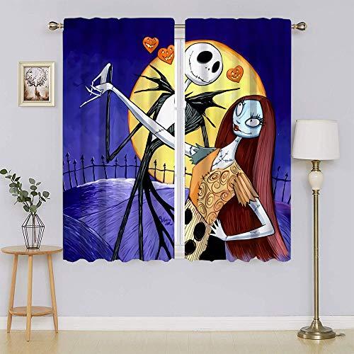 The Nightmare Before Christmas Jack Skellington Sally - Cortinas opacas con ahorro de energía, ahorro de energía para cortinas de ventana de guardería (55 x 63 pulgadas)