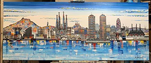 Cuadro Skyline de Barcelona pintado a mano, lienzo original. 150x60cm