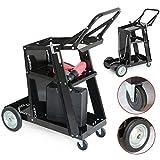 Yaheetech Chariot de soudage Mobile Poste de Soudure 3 étagères et 4 Roues Charge 80 kg pour Atelier Garage Noir