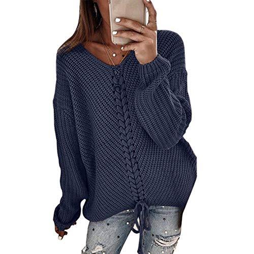 TOSISZ Frauen Rippenpullover Gelb V-Ausschnitt Herbst Winter Pullover Weiblich Strickpullover Pullover Laterne Ärmel Twisted Damenpullover, Navy, XL