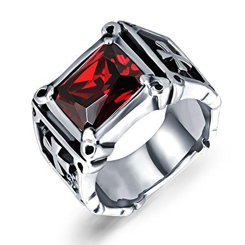 Para hombre sintética de color rojo granate anillos acero inoxidable Dragon...