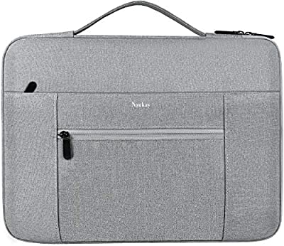 Laptop Sleeve Bag 14-15.6 Inch, Water Resistant Briefcase Handbag, Ultrabook Notebook Shockproof Protective Case for 15.6 inch HP Dell Lenovo Asus Acer Chromebook Computer, Accessory Bag -Grey