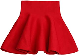 Mesinsefra Little Big Girls' High Waist Knitted Flared Pleated Skirt Casual