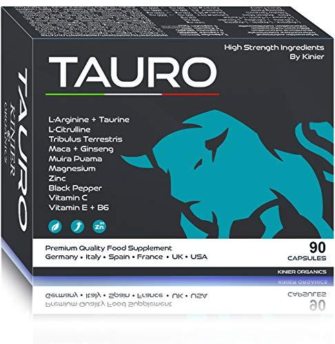 TAURO · Potenciador de Testosterona Pura · 90 Pastillas para hombre con Maca Andina, Arginina, Tribulus Terrestris, Ginseng, Muira Zinc y Vitaminas