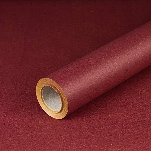 Geschenkpapier Dunkelrot, Recyclingpapier, rot, glatt, 80 g/m², Geburtstagspapier, Weihnachtspapier - 1 Rolle 0,7 x 10 m