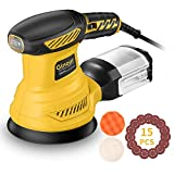 Orbital Sander, Ginour 13000 RPM 125mm Random Orbital Sander, 6 Speeds, 15Pcs Sandpapers, Sponge Disc,Wool Disc, Efficient Dust Collection System, Ideal for Sanding, Polishing Wood