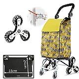 Ceakep Cochecito de 8 Ruedas de Empuje Plano 2 en 1 Carrito Plegable Carrito Carrito Escalera Estante supermercado Compras (Yellow)