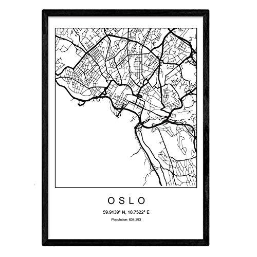 Nacnic Druck Oslo Stadtplan nordischer Stil schwarz und weiß. A3 Größe Plakat Das Bedruckte Papier Keine 250 gr. Gemälde, Drucke und Poster für Wohnzimmer und Schlafzimmer