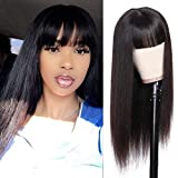 ISEE Human Hair Wigs with Bangs 22Inch Straight Non Lace Front Wigs 150% Density Glueless Full Machine Made Wigs for Black Women Natural Color