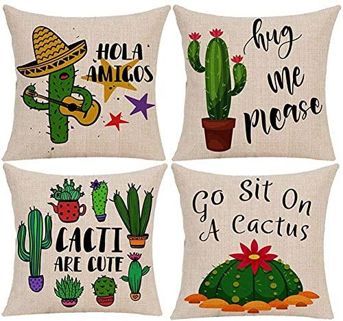 4 Pack Funda de Cojín,35x35cm/14x14in sombrero de cactus Algodón Lino Cuadrada Funda de Almohada para Cojín,con Cremallera Invisible Cushion Cover,para Living Room Bed Sofa,Fundas Cojines Decor L222