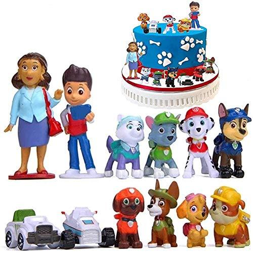 12-teiliges Kuchenaufsatz für Kinder, Paw Patrol, Minifiguren-Set, Cupcake-Topper, Partyzubehör, Cupcake-Figuren, Party-Kuchendekoration, Kuchenaufsatz