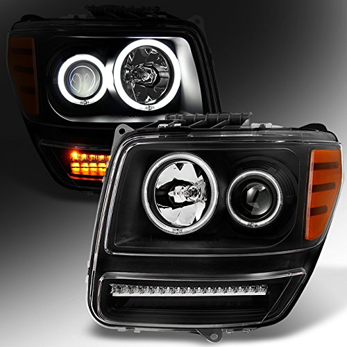 For 2007 2008 2009 2010 2011 Dodge Nitro Dual CCFL Halo Black Projector Full LED Turn Signal Headlights