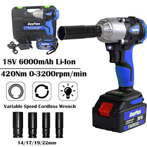 420 Nm High Torque Akku-Drehschlagschrauber 1/2 Zoll mit 6,0 Ah Li-Ion 18 V-Akku - Inc. Richtungssteuerung und Trigger mit variabler Geschwindigkeit sowie LED-Arbeitsleuchte