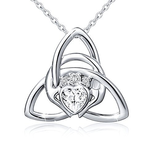 925 Sterling Silver Good Luck Irish Claddagh Celtic Knot Love Heart Pendant Necklace for Women Ladies Birthday Gift Mother's Day Gift, 18 Inch Rolo Chain