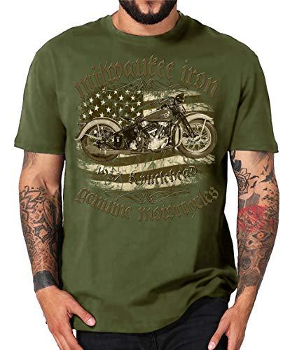 Milwaukee Iron Legends Chopper Bobber V2 - Camiseta de motorista Knucklehead 1937 - Cojín para bebé, color verde XXL