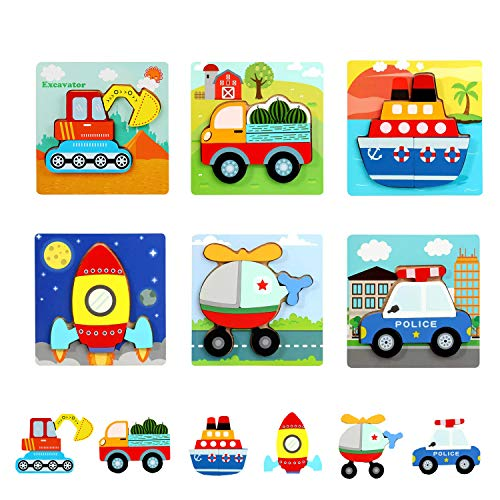Aozora(青空) 木製パズル おもちゃ 木製 パズル マッチング 積み木形合わせ 積み木 知育パズル ジグソー 6種類 乗り物 知育玩具 学習玩具 教育おもちゃ 人気 子供 積み木 出産祝い お誕生日プレゼン