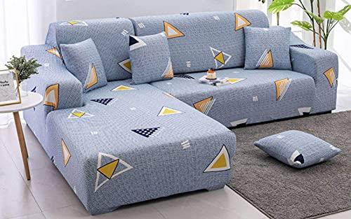 BANNAB Funda de sofá, Funda de sofá seccional, Funda de sofá elástica en Forma de L, Funda de sofá en Forma de L Antideslizante, con Base elástica, Lavable-E-2 plazas + 4 plazas
