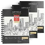Arteza Skizzenblock, A5 148 x 210 mm, 3er-Set spiralgebundene Sketchbooks mit je 100 Blättern, 100 g/m² säurefreies dickes Papier, fein gezahnte Oberfläche, für viele trockene Medien