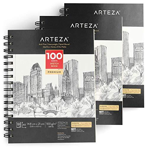 ARTEZA Blocs de dibujo artístico | Tamaño A5 | Pack de 3 | 100 hojas x 3 | Papel fino color crema de 100 gsm sin ácidos | Para prácticas de dibujo y bocetos con medios secos
