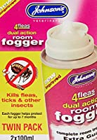 Johnsons 4fleas Room Fogger Twin Pack (with IGR) contains permethrin and s-methoprene Kills fleas and other insects eg ants, cockroaches, earwigs etc Prevents hatching eggs developing into fleas Johnsons 4fleas Room Fogger Twin Pack is a complete roo...