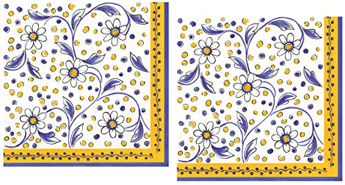 40 Le Cadeaux Benidorm Yellow Paper Napkins   Disposable Dinner Paper Napkin Set   French Country Provence Floral Theme with Shades of White and Blue
