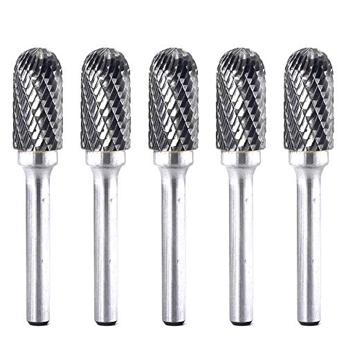 YUFUTOL 5pcs SC-5 Tungsten Carbide Burr Cylinder Shape with Radius End Double Cut Rotary Burr File(1/2