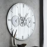 Casa Padrino Espejo de Pared/Reloj de Pared de Lujo Plata Ø 120 cm - Elegante Reloj de Pared Redondo con Espejo - Muebles de Salón - Calidad de Lujo