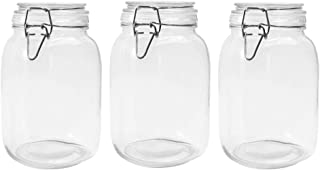 Betrome 50 OZ Glass Jar 3 Pack Reusable Storage Jar with Stainless Steel Clasp Airtight Rubber Gasket Lid for Jam, Coffee, Tea,Honey, Beans, Spice and More