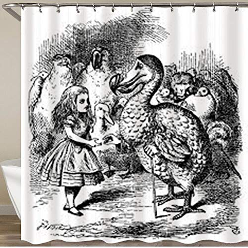 LONSANT Waterproof Shower Curtain,Alice in Wonderland Black and White Alice Looking Animals Like Ostrich Penguin Monkeys Next to it,Durable Washable Fabric Bath Curtains 12 Hooks,Home Bathroom Decor