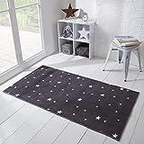 Dreamscene Star Rug Anti-Slip Carpet for Kids Childrens Nursery Bedroom Playroom Non-Shed Floor Mat, Charcoal Grey - 60 x 120 cm