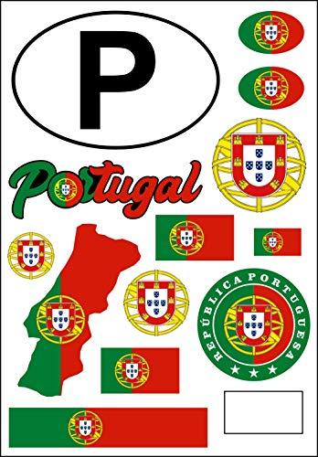 aprom Pegatinas de Portugal para coche, diseño de bandera de Portugal