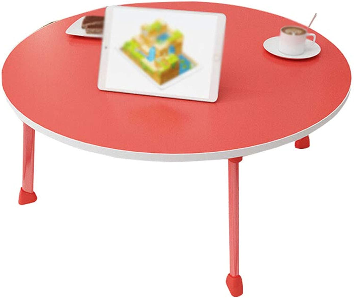 CHANG-dq Round Small Table, Laptop Table Student Foldable Household Table  60  60  28cm Household table (color   Red, Size   60  60  28cm)