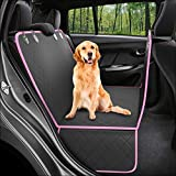 Dog Back Seat Cover Protector Waterproof Scratchproof Nonslip Hammock for Dogs Backseat Protection Against Dirt and Pet Fur Durable Pets Seat Covers for Trucks & SUVs (XL, Pink)