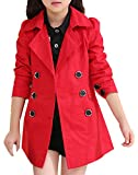JiaYou Girl Child Kid Lapel Double Breasted Outwear Pea Trench Coat(Red,11 Years)