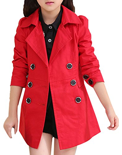 JiaYou Girl Child Kid Lapel Double Breasted Outwear Pea Trench Coat(Red,6 Years)
