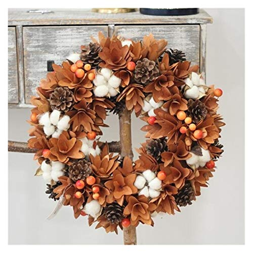 NKIE Environmental Protection Garland, Natural Floral Cotton Wood Rustic Autumn Decoration Hanging Front Door Wreath Thanksgiving Wreath Home Decoration (Color : As Photo, Diameter : 35cm)