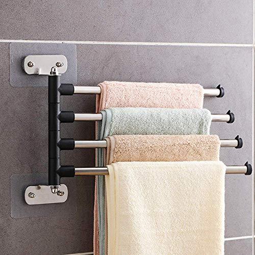 IUYJVR Towel Rack, Swivel Towel Rail,Stainless Steel Bath Rack,Wall Mounted Towel Rack,Holder with Swivel Bars,for Kitchen,Bathroom,Toilet-4-arm