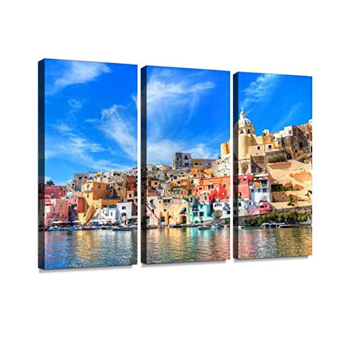blaverr 3 Panel Wall Art Modern Artworks for Home Decor Canvas Prints procida Island in The Italian sea Coast Naples Italy Fishing Boats Pictures for Living Room Bedroom Decoration, Ready to Hang