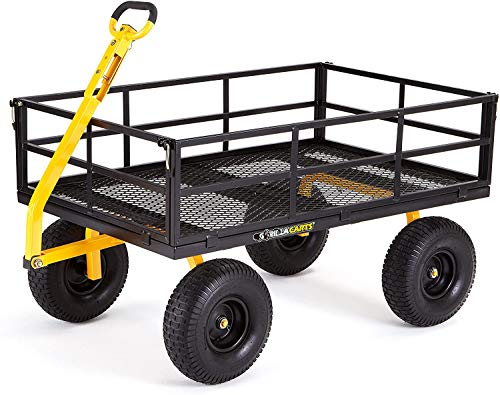 """Gorilla Carts GOR1400-COM Heavy-Duty Steel Utility Cart with Removable Sides and 15"""" Tires, 1400-lbs. Capacity, Black"""