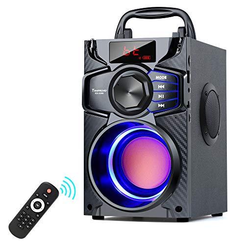 A900 Bluetooth Lautsprecher, 10W tragbarer Bluetooth Musikbox mit Subwoofer, FM Radio, LED Leuchten, EQ, 20 Meter Reichweite, Bluetooth 5.0 Wireless Stereo Lautsprecher für Außen und Innenpartys