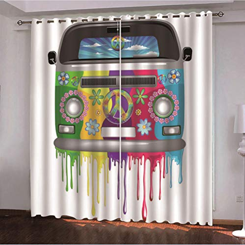 2er Set Gardine Thermovorhang 150x166 cm Vorhang mit Ösen, Gardine aus Polyester Wärmeisolierender Blickdicht,...