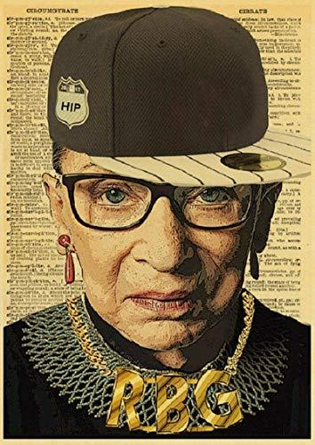 yangchunsanyue Ruth Bader Ginsburg Posters Art RBG Vintage Poster Impresiones Decoración De La Habitación del Hogar Pintura Artística Pegatinas De Pared 40x50Cm No Frame (Zr-3666)