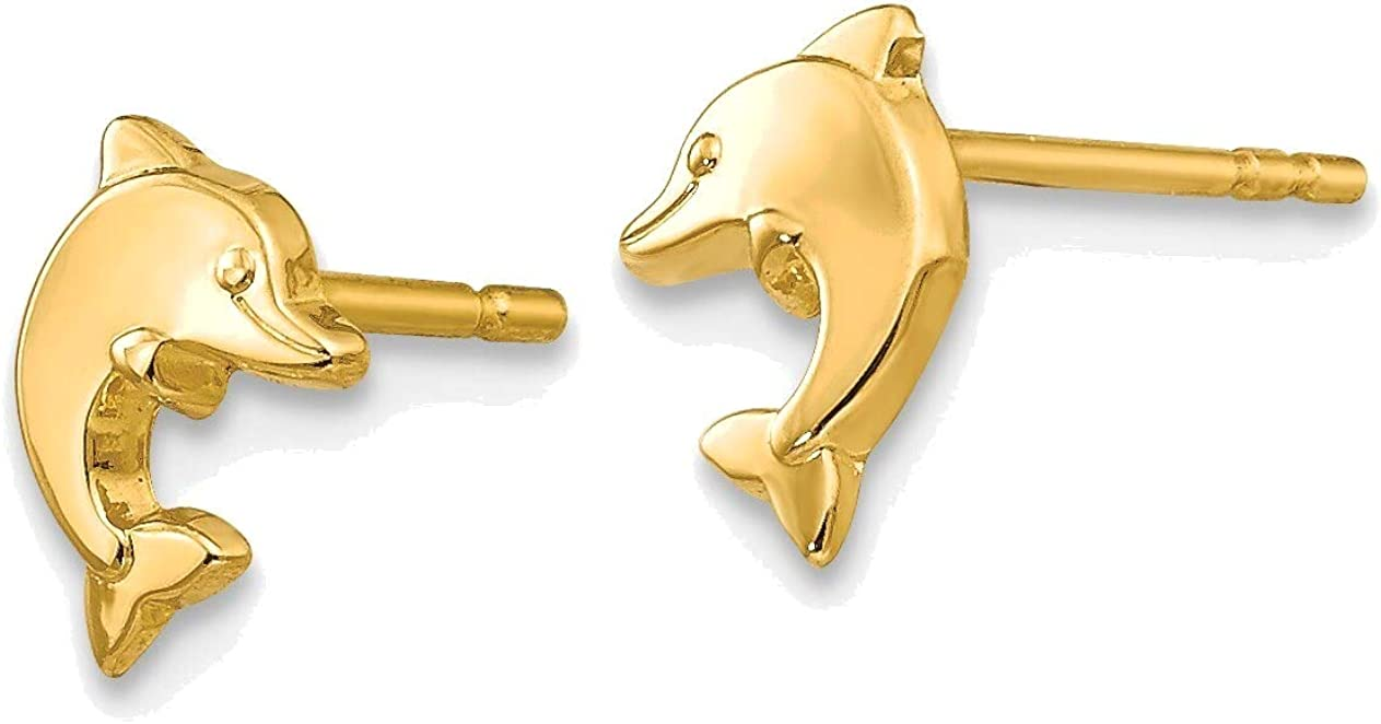 Polished Dolphin Post Earrings in 14K Yellow Gold