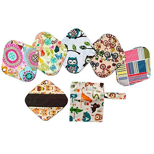 Wiederverwendbare, waschbare Slipeinlagen aus Holzkohle-Bambustuch, Menstruation-Pads, 6Stück, 20,3cm, + eine Tasche