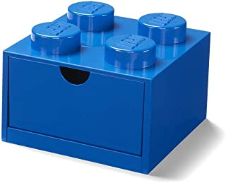 LEGO Desk Drawer 8 knobs Stackable Storage Box, Blue, Small