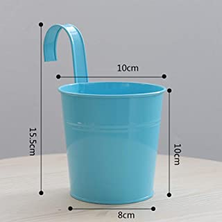 YILUREN Candy Color Flower Pot Bucket Ornaments Iron Hanging Bucket Home Decoration Crafts Furnishings (03)