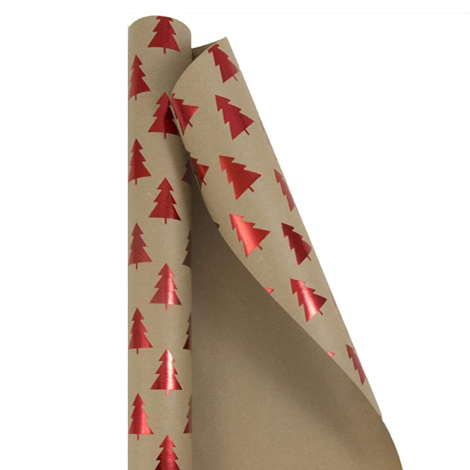 JAM PAPER Gift Wrap - Christmas Kraft Wrapping Paper - 25 Sq Ft - Red Trees on Brown Kraft Paper - Roll Sold Individually