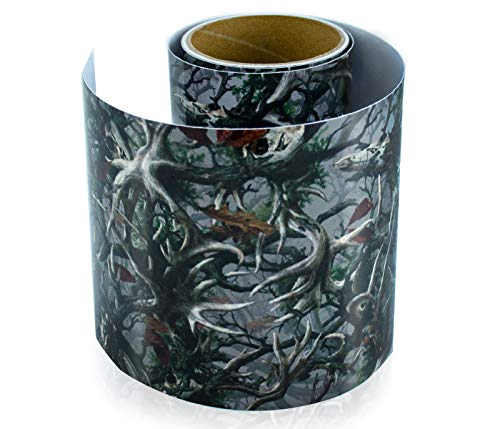 "Vinyl Camo Wrap Film with Realistic Deer Skull Camouflage Print Pattern. Bubble-Free Outdoor Adhesive Film 6"" x 7 Ft Long Roll for Wrapping Various Items. 8 Year Weatherproof Film"