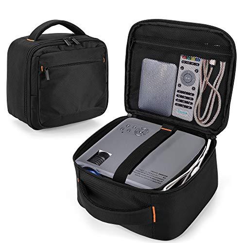 CURMIO Beamer Tasche, Tragetasche für Mini Projektor, Projektortasche Kompatibel mit DR.J und QKK und Andere Kleine Beamer und Zubehör (OHNE ZUBEHÖR ENTHALTEN), Schwarz